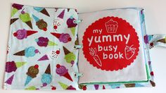 Activity book (quiet book) my yummy busy book from bubblesandbobbins Diy Quiet Books, Baby Quiet Book, Felt Books, Children's Books, Quiet Time Activities, Craft Activities, Children Activities, Book Projects, Sewing Projects