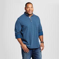 Men's Blue Long Sleeve Polo Shirt 4XB Tall - Merona