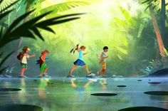 Summertime on Behance Indian Illustration, Landscape Illustration, Digital Illustration, Kleiner Muck, Wow Art, Illustrations, Storyboard, Cute Art, Character Art