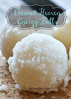 """Coconut Heaven Energy Bites â…"""" cup unsweetened shredded coconut 1 ½ tsp. non-dairy milk (I used almond milk) 2 Tbsp. agave nectar or raw honey Healthy Desserts, Delicious Desserts, Yummy Food, Healthy Fats, Snack Recipes, Cooking Recipes, Dessert Recipes, Fudge, Coconut Recipes"""
