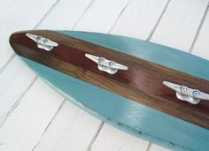 Turquoise and Red Wood Surfboard Coat Rack 27 by ProjectCottage, $69.95