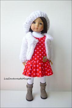 ensemble rouge et blanc pour poupée 32-36 cm de lesCouturesdeMagda sur DaWanda.com
