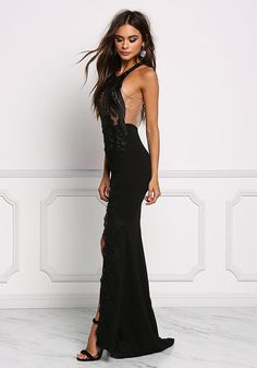 Black Embroidered High Slit Maxi Gown - Dresses