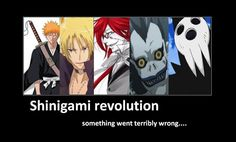 okay everyone I know all of them except the blond! Who can help me? Ichigo from Bleach, Grell from black Butler, Ryuk from Death Note, and Death from Soul Eater.