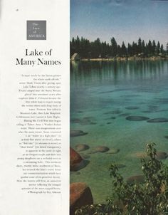 "1961 THE FACE OF AMERICA vintage magazine article ""Lake of Many Names"" ~ ""It must surely be the fairest picture the whole earth affords,"" wrote Mark Twain after gazing upon Lake Tahoe exactly a century ago. Twain camped near the Sierra Nevada ..."