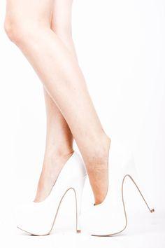 6 Inch White Heels