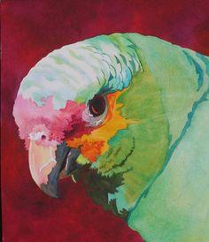 Green Parrot by Anne Abgott Watercolor Artists, Watercolor Bird, Watercolor Animals, Watercolor Paintings, Watercolours, Art And Illustration, Guache, Tropical Art, Parrots