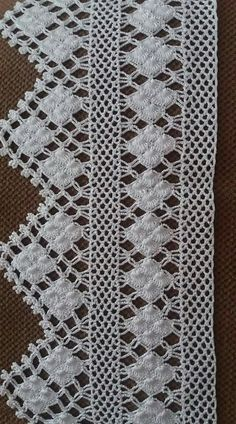 Crochet lace edging with point Filet Crochet, Crochet Lace Edging, Crochet Borders, Crochet Poncho, Irish Crochet, Crochet Doilies, Crochet Stitches, Crochet Patterns, Diy Crafts Crochet