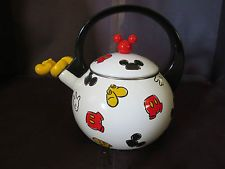 Disney Mickey Mouse Kitchen Metal Tea Kettle Planter Nice Rare Whistling Pot