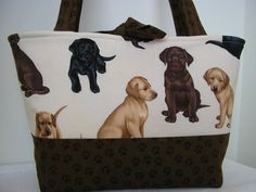 Free Shipping.  Handmade tote shoulder bag.  Puppy by Joanna1966, $28.00. I would love to have this!