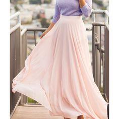 Chic High Waist Pink Chiffon Skirt For Women