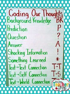 Anchor Chart for Coding Sticky Notes in Reader's Workshop.