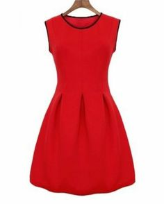Red Sleeveless Contrast Trims Flare Dress