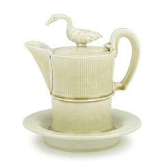 Steven Godfrey Emperor Goose Teapot-w-plate