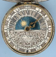 Antique pocket watch with sun & moon dial by John Trubshaw, London, circa 1695