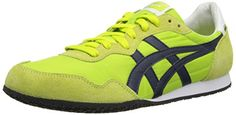 Onitsuka Tiger Serrano Fashion Shoe,Lime /Navy,14 M US. Rubber. Padded tongue and collar. Rubber sole. Slim-profile sneaker with track-inspired style and dual-texture overlays. Logo patch at tongue.