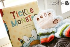 The TICKLE MONSTER! What fun tradition for dads and kids...not much is greater than the sound of laughter! The book and gloves would also make a great Father's Day present! ;)