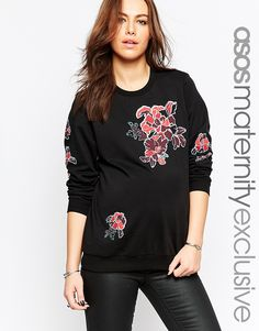 ASOS Maternity Embroidered Floral Sweatshirt