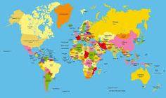 planisferio politico con nombres de paises y capitales - Buscar con Google