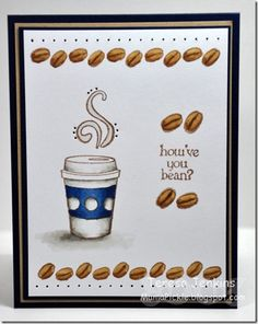 """Friendship card """"how've you been?"""" Made with Fiskars latte love stamp set"""