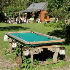 A pool table made with BUCKETS! this would be awesome for an outdoor pool table. Outdoor Pool Table, Pool Table Room, Outdoor Fun, Outdoor Spaces, Outdoor Living, Outdoor Decor, Pool Tables, Diy Yard Games, Backyard Games