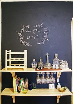 Yes, please, I need a chalkboard wall. I wonder if chalkboard paint comes in other colors now though, that black is kind of oppressive.