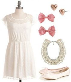 Marie: The Aristocats This sweet and girly look is purr-fect for channeling your inner Marie. Pair a simple white dress with pale pink ballet flats. Wear a collar necklace and heart stud earrings for accessories. And in your hair, put in a cute pink bow clip to complete the look! dvchic