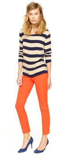 I love the strips, color, and fit of her top but I don't like her pant color. It's too bright for me.