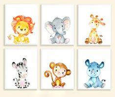 Set of 6 Safari Baby Animal Prints Baby Boy Nursery Baby Girl Nursery Decor Baby Animal Printable Nu
