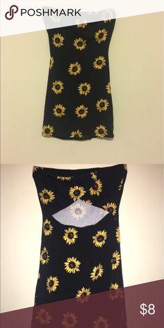 Strap less black flower dress Black with yellow sun flowers Forever 21 Dresses