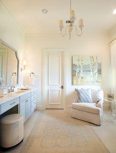 Bathroom. Bathroom Design. Neutral bathroom with comfortable furniture. This bathroom feels like a luxurious spa. #Bathroom #BathroomDesign #SpaBathroom