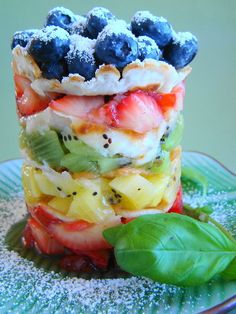 Yummy~T~ no directions just love the idea of a layered individual fruit salad. Fun for summer.