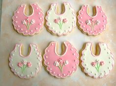 Shower cookies for baby girl. I thought it was a cute idea when the customer requested the little dress. I'd never thought of that for a shower.