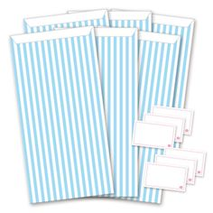 6er-Set Geschenktüten + Sticker  blau/weiß - Stripes