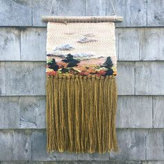 "Late October Sky 10"" X 20"" hand woven tapestry. This one makes me happy ❤️ Driftwood, cotton warp, wool, llama, mohair weft. This baby is FULL of hand dyed, hand spun yarn @girlwithasword #annierosehandspun #thecosmicspindle @cascadeyarns @manosdeluruguay #weaveweird #pinksky #handspun #handweaving #hygge #decor #supportlocalartists #shadbay"