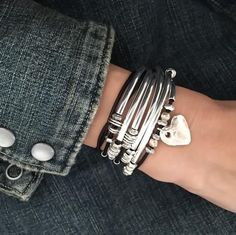 Double Love with Hammered Heart charm natural black leather wrap bracelet