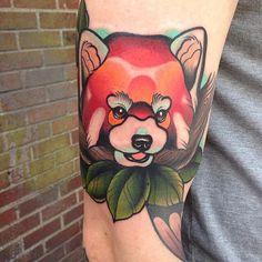 Colorful Red panda tattoo.