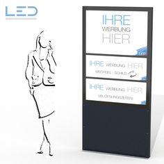 Stele mit Wechselschild Slimline A0 Flex, LED Stele, Totem Safety Glass