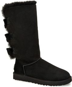 UGG - Women's Tall Bailey Knit Bow Boots - Black