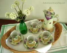 Vintage Cocoa Set  with hand painted with Purple Violets:: St. Patrick's Day :: AnExtraordinaryDay.net