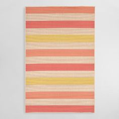 Featuring wide stripes in three warm hues on a tightly woven natural background, our comfortable, easy-care rug is a fashionable find for indoor and outdoor use.