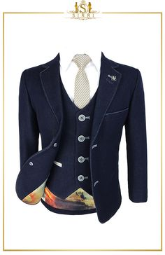 Step up your suit game with this cool matching men and boys denim look navy blue suit. It comes as a 3pc that includes jacket, waistcoat and trousers. Shop now at SIRRI kids #boys wedding outfits #prom suits for boys #page boy suit #boys suits sale