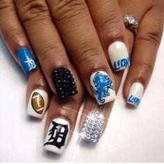 Football. Detroit Lions Nails