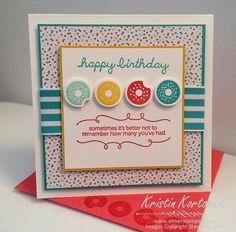 Fun handmade birthday card featuring the Sprinkles on Top stamp set by Stampin' Up! - Kristin Kortonick
