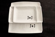 wedding gift idea - Set of 3 serving platters. $95.00, via Etsy.