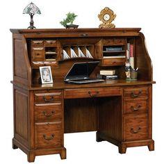 """Darby Home Co Schueller 57"""" Roll Top Secretary Desk"""
