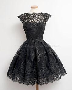 Simple Dress Little Black Short Prom Dresses, A-line Lace Short Black Prom  Dresses 6acb66084ef