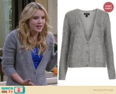 Lennox's grey fluffy cardigan on Melissa and Joey. Outfit Details: http://wornontv.net/26075 #MelissaandJoey #fashion