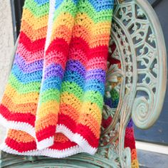 Rainbow Ripple Baby Blanket. Free Pattern. Roxycraft