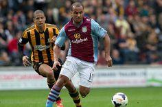 Aston Villa 2 Hull City 1 in Aug 2014 at Villa Park. Gabriel Agbonlahor comes forward for Villa #Prem